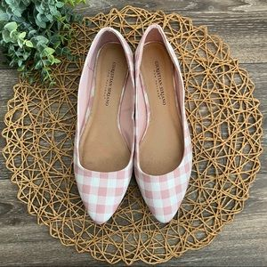 CHRISTIAN SIRIANO Pink White  Picnic Gingham Flats